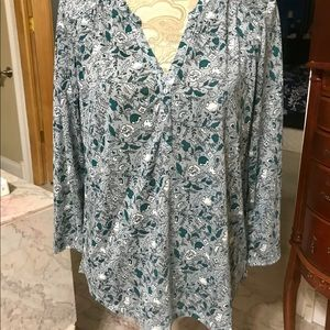 H&M WOMEN'S FLORAL BLOUSE GREEN SIZE M